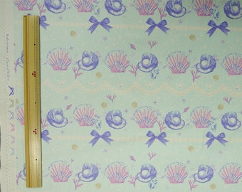 Classical and Modern Japanese Fabric  / Sea Shell Oxford Fabric Bluish Green - 50cm x 110cm