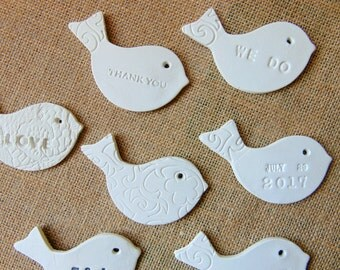 Ceramic Bird Favors, 50 Wedding Birds tags, Personalized Favors,