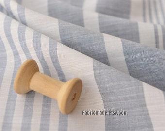 Irregular Grey Stripes Cotton Fabric, Gray White Stripes Cotton Light Weight Soft Smooth Cotton- 1/2 yard