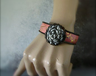 Black Rose vintage tin assemblage bracelet, recycled vintage tin jewelry, black ceramic rose, eco friendly, cottage chic, Anvil Artifacts