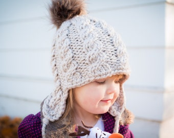 Ear Flap Hat // Baby Beanie // Baby // Toddler // Child // Adult // Pom Pom // Knit Beanie // Tie Hat // Toasty // Cozy