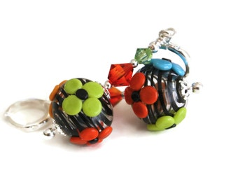 Bright Flower and Black Hollow Lampwork Glass Bead Earrings, Orange Fire and Peridot Swarovski crystals, Sterling silver European Earwires