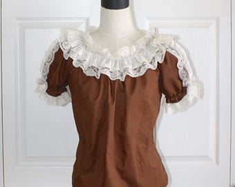 1970s Square Dance Blouse . Vintage 70s Square Up Cowgirl Western Brown & Ivory Lace Blouse Top. Size Small