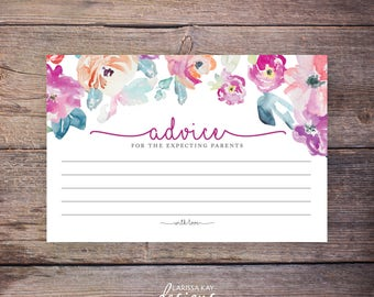 Flower Watercolor Baby Shower Advice Cards, Expecting Parents, Advice for the New Parents, New Baby Advice, Printable, Floral - Harper