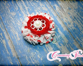 Red, White Headband, Valentine's Hair Clip, Valentines Hairbow, Flower Hair Piece, Baby Hair Accessory, Red White Hair Bow, Infant, Baby