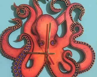 Hand painted, made to order  octopus wooden clock.
