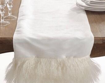 "Christmas Table Runner   Fur Table Runner   72""   Faux fur Table Runner   White Off White Table Runner   Shaby Chic Christmas Table"