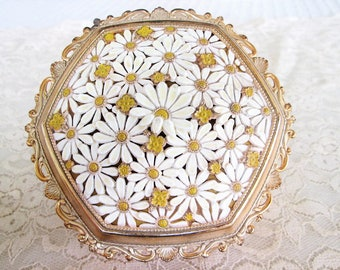 Gold Trinket Box Daisy Flower Lid Footed Marked JAPAN Vintage Stash Trinket Jewelry