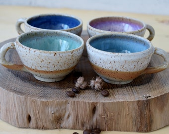 Ceramic espresso mugs Set of Four, 4 stoneware espresso cups Set, Pottery espresso mug, Coffee Lovers Gift, Small Coffee mug, tea cups set