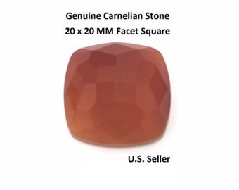 100% Natural Carnelian 20 x 20 MM Faceted Square Cushion (Pack of 1)
