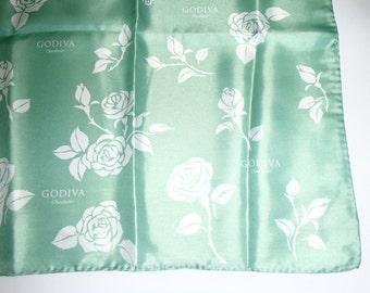 GODIVA/ VINTAGE SILK Scarf/Mint Green n White Flower Print/ Like New/Rare Find 1990s