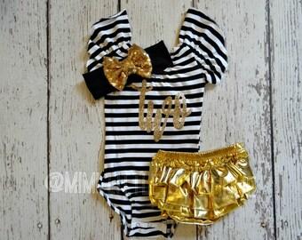 Second Birthday leotard- white an black stripes leotard- 2nd birthday leotard- baby girl leotard- 2 birthday leotard-Second birthday leotard