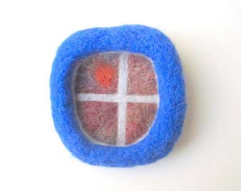 Felted brooch, needle felted pin, dark blue window, felted wool badge.