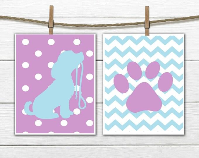 Puppy Dog Nursery  -  Custom Colors - Puppy Silhouette - Nursery Wall Decor - Dog Silhouette