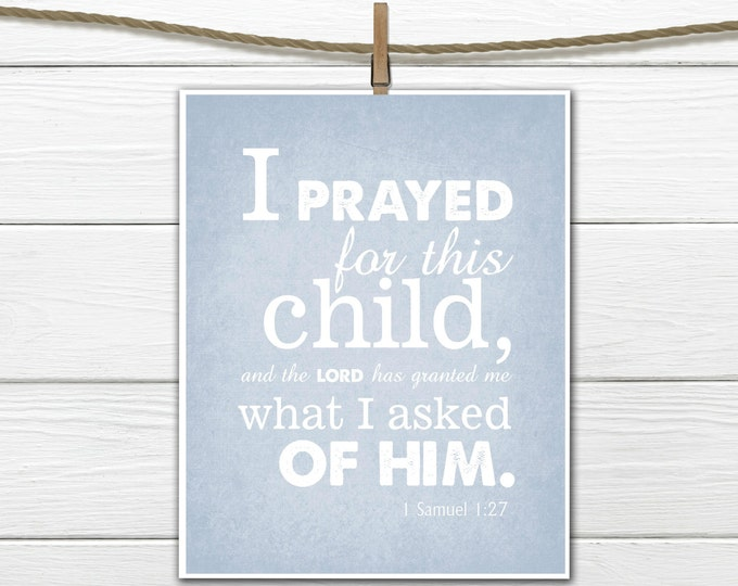 Bible Verse Nursery Print 1 Samuel 1:27 Christian Art