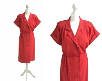 Tomato Red Vintage Shirt Dress - 80's Dress - Red Dress - Gilt Metal Button Double Breasted Dress