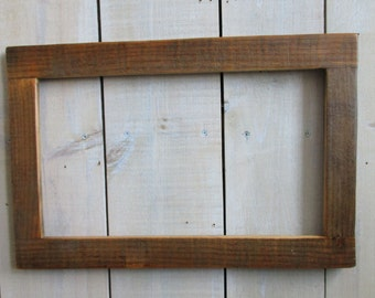 handmade rustic wood frame 17375 x 1025 weathered wood clear polyurethane finish odd size frame