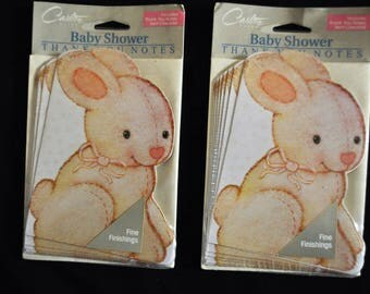 1990's Baby Shower Thank You Notes - 2 unopened packages for total of 16 cards - Cute Bunny
