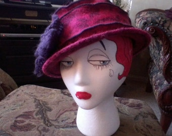 Hot Pink Wool Hat with Purple Bow