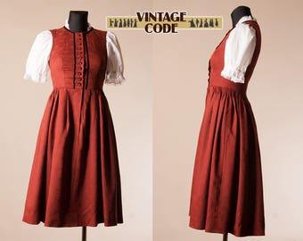 Brick Red Pinfore dirndl Dress / Austrian German Trachten Oktoberfest folk dress dirndl  / size xs to small