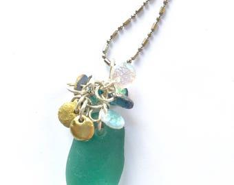 Teal sea glass necklace, seaglass sparkle cluster necklace, seaglass charm necklace
