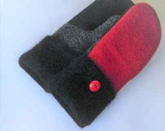 Woman's Felted Wool Mittens - Red/Black - Felted Sweater MIttens  - Medium-Ready to Ship
