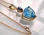 Sapphire and Blue Topaz Pendant 14k Gold, Trillion Cut Stone, 14k Gold Chain, Graduation, Mothers Day Gift