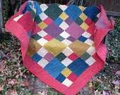 Quilt - Lap Quilt, Sofa Quilt, Quilted Throw - Moda Wool and Needle Flannel Quilt - Custom Order for Mari