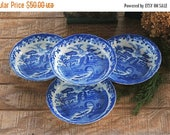 On Sale Flow Blue and White Transferware Soup Bowls Set of 4 Blue Castle China Bowls Coupe Soup Dessert Bowls Ca. 1930s Replacement China