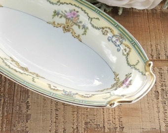 Noritake Smartnis Relish Dish Pink Roses Gold Trim Cottage Style Oblong Dish Tea Party Wedding Gifts Ca 1930s