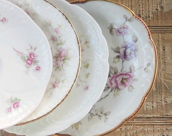 Gorgeous Mismatched Saucers Set of 4, Tea Party, Wedding, Cottage Chic, Vintage Bridesmaid Gift Inspired Replacement China