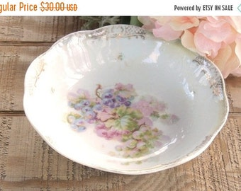 On Sale Romantic Vintage Bavarian Handpainted Pink and Lavender Grapes Bowl, Tea Party, Cottage Style