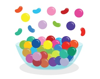 Gumballs & Jelly Beans PLUS Candy Bowl Clip Art | Candy Shop Food Dessert Graphic Rainbow | Digital Illustration | Personal Commercial Use