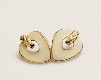 Xmas SALE Vintage Enamel Earrings, Gold Stud Earrings