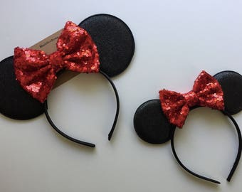 Mommy and Me Set Minnie Mouse ears red sequin bow