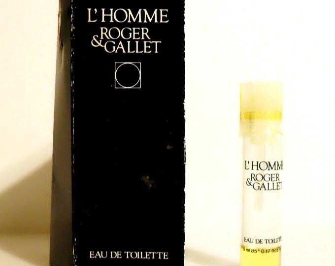 Vintage 1980s L'Homme by Roger et Gallet 0.17 oz Eau de Toilette Sample Vial on Card COLOGNE