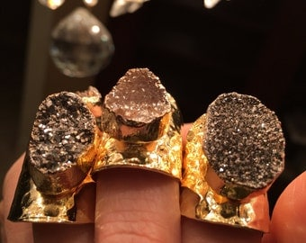 Druzy Rings, boho wedding, boho jewelry