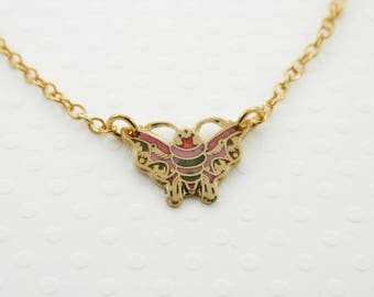 Red Enamel Moth Necklace