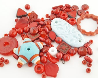 Blue Red Beads Mix | Orphan Beads | DIY Jewelry Kit | Lampwork Glass | Ceramic Beads | Czech Glass | Star Rings Leaves | The Blue Hutch