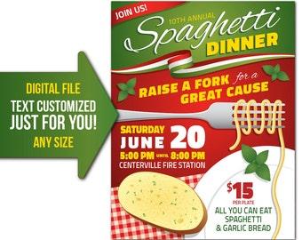 Spaghetti Dinner, fundraiser, charity, event, Italian, church, pasta, flyer, invite, printable, poster, customized, invitation, postcard