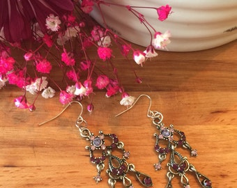Earrings,Purple Blush Pink, Pale lavender, Earrings, Chandelier Earrings, Sliver Tone in color, Free Shipping, USA, #73
