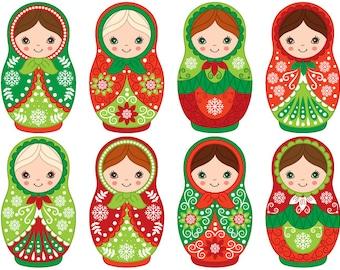 70% OFF SALE Christmas Matryoshka Clipart - Digital Vector Matryoshka, Russian, Nesting, Matrioshka Clip Art for Personal and Commercia