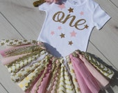 Pink and Gold Theme Tutu Set/1st Birthday Outfit/Baby Girl Twinkle Twinkle Star
