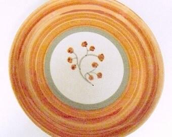 California Pottery Platter Stoneware, Winfield Pottery Pasadena Dinnerware, round meat platter, mid century tableware orange earthtones