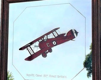 Vintage Mirror Red Sopwith Camel Plane 1917, WWI airplane wall decor, pilot gift, man cave wall hanging, kids decor