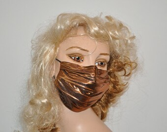 Metallic Face mask, copper metallic fabric, Flu and Cold mask, cotton lined, stunning mask