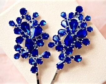 Blue Rhinestone Bobby Pins,Blue Bridal Bobby Pins,Blue Wedding Bobby Pins,Blue Crystal Bobby Pins,Blue Hair Accessories,Something Blue
