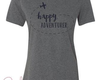Happy Adventurer Gray Graphic Travel Tee