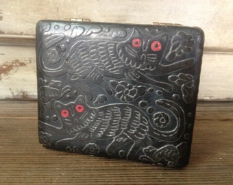 Black Lacquer Wood Trinket Box Cat Design Folk Art Whimsical
