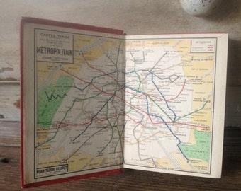 1956 Paris Tourist Guide Book Original City Maps French Text